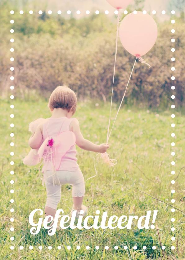 Verjaardagskaarten - Verjaardagkaart meisje ballonnen