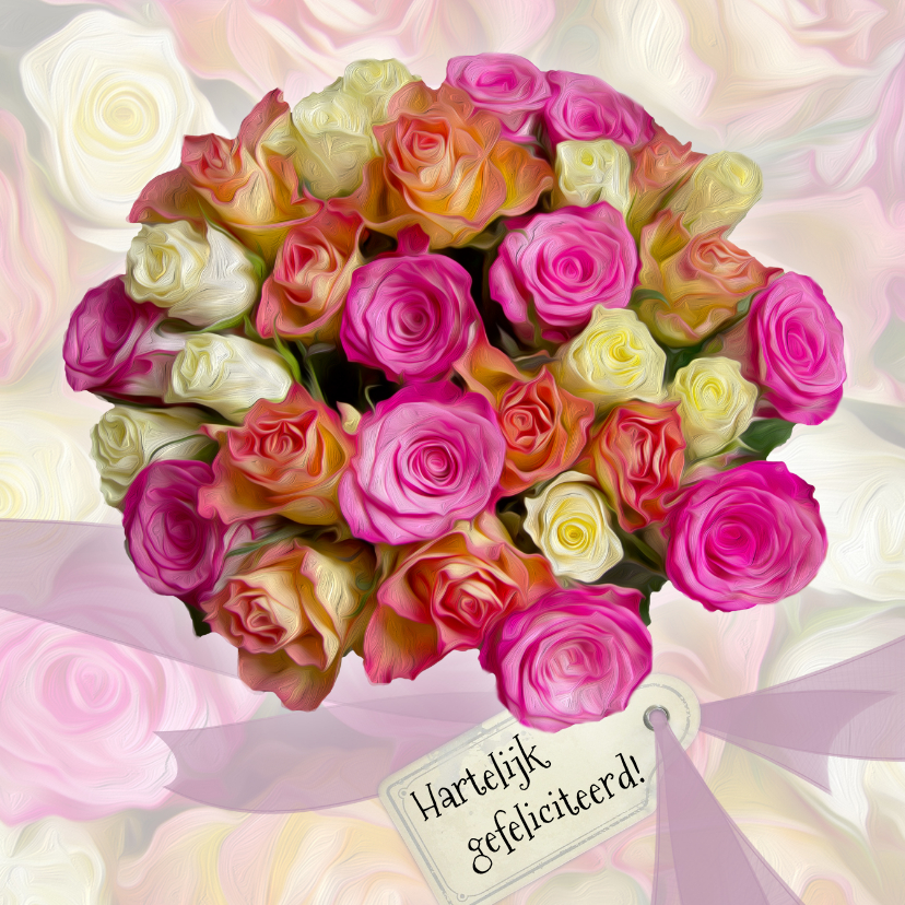 Verjaardagskaarten - Verjaardagkaart rozen en lint