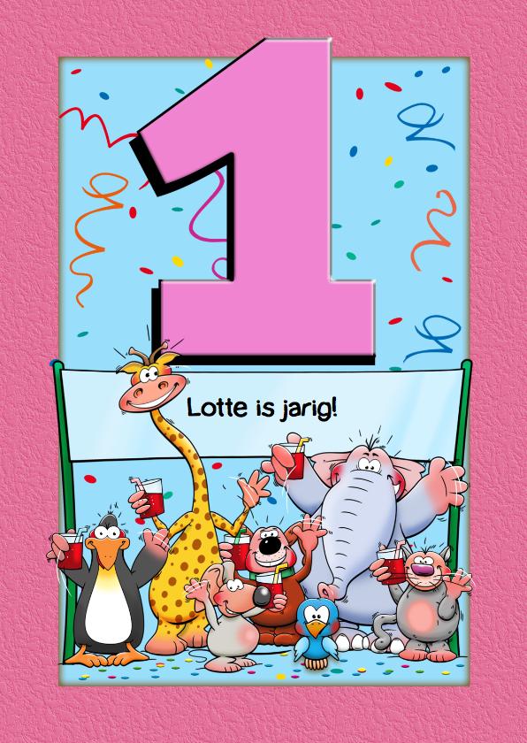 kaart 1 jaar Verjaardagkaart voor meisje van 1 jaar met | Kaartje2go kaart 1 jaar