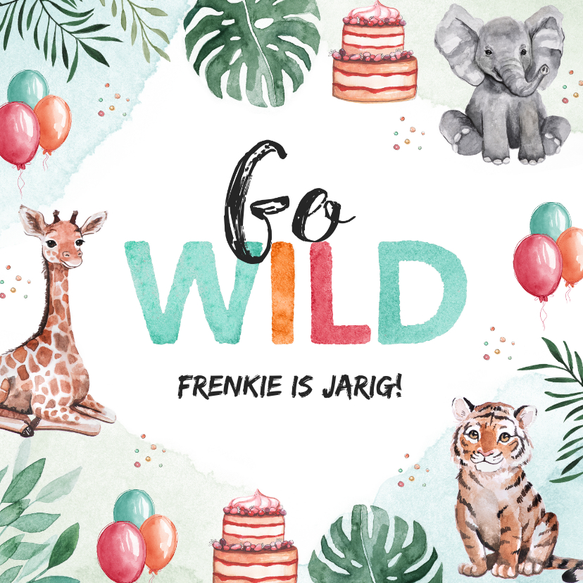 Verjaardagskaarten - Verjaardagkaartje dieren jungle olifant giraf tijger