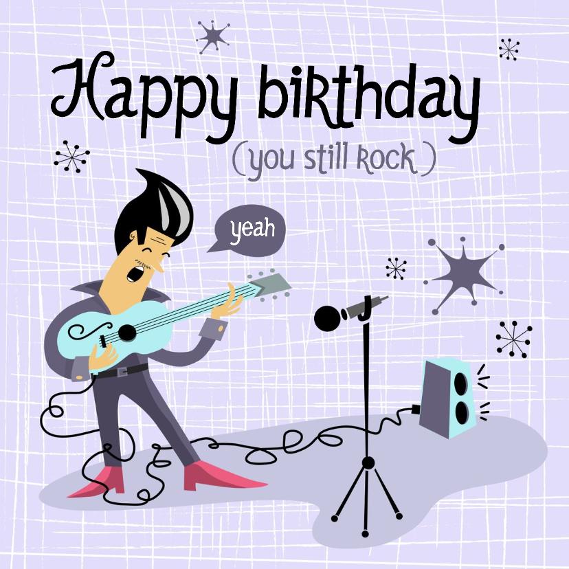 Verjaardagskaarten - Verjaardags kaart met rockende gitarist
