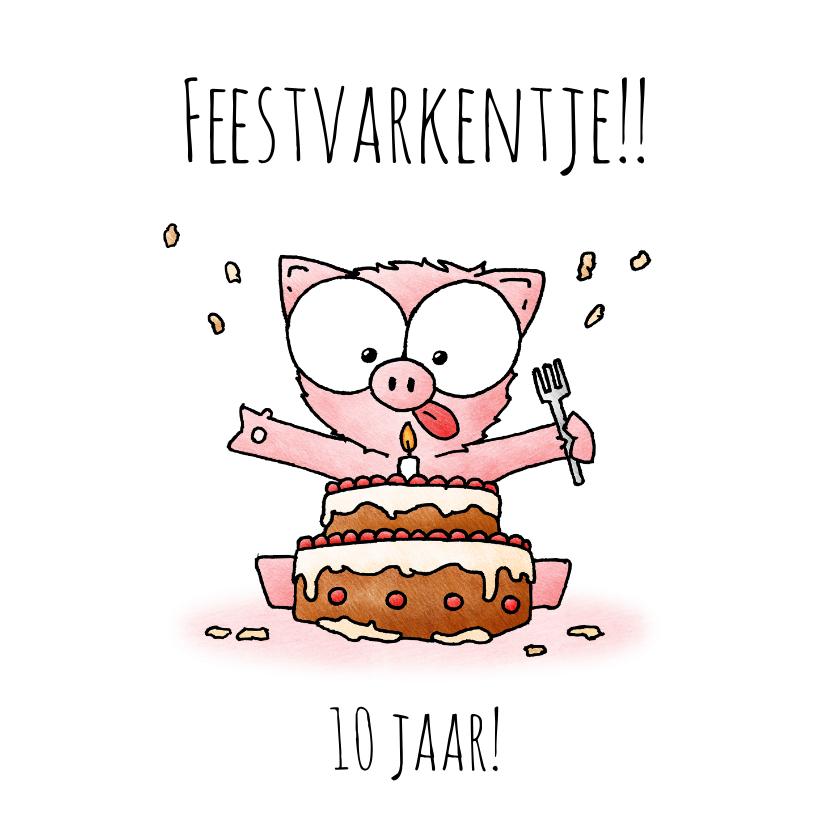 Verjaardagskaarten - Verjaardagsfelicitatie biggetje - Feestvarkentje!!