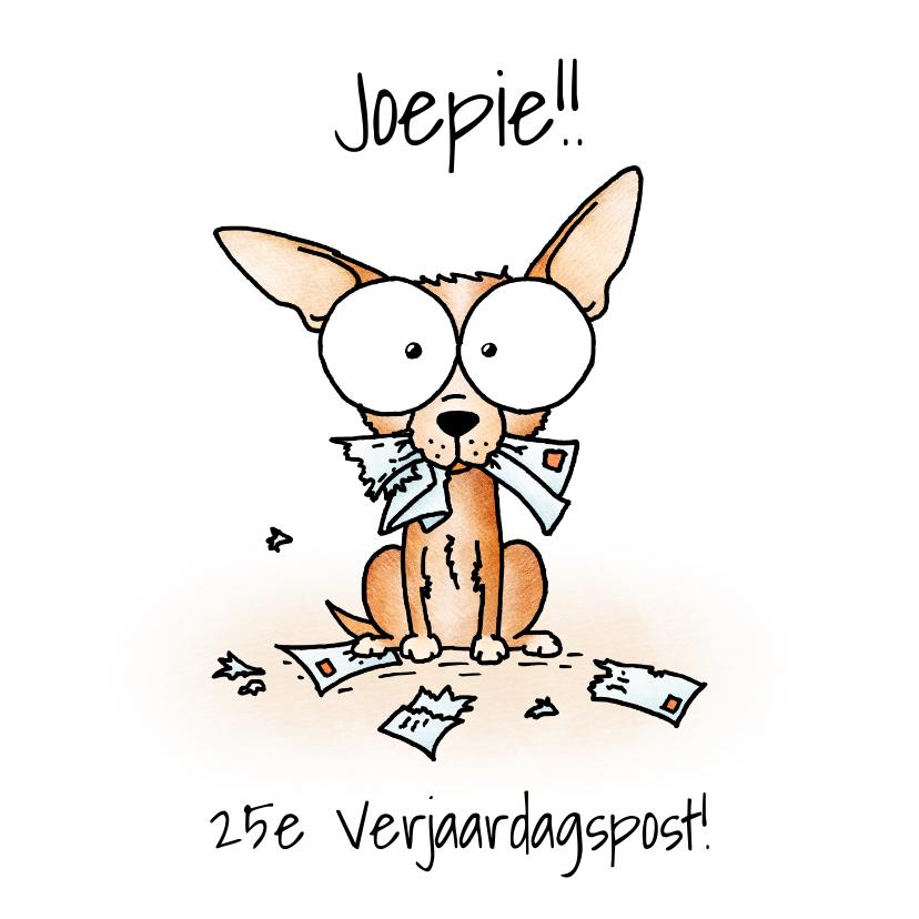 Verjaardagskaarten - Verjaardagsfelicitatie - Chihuahua met verscheurde brieven