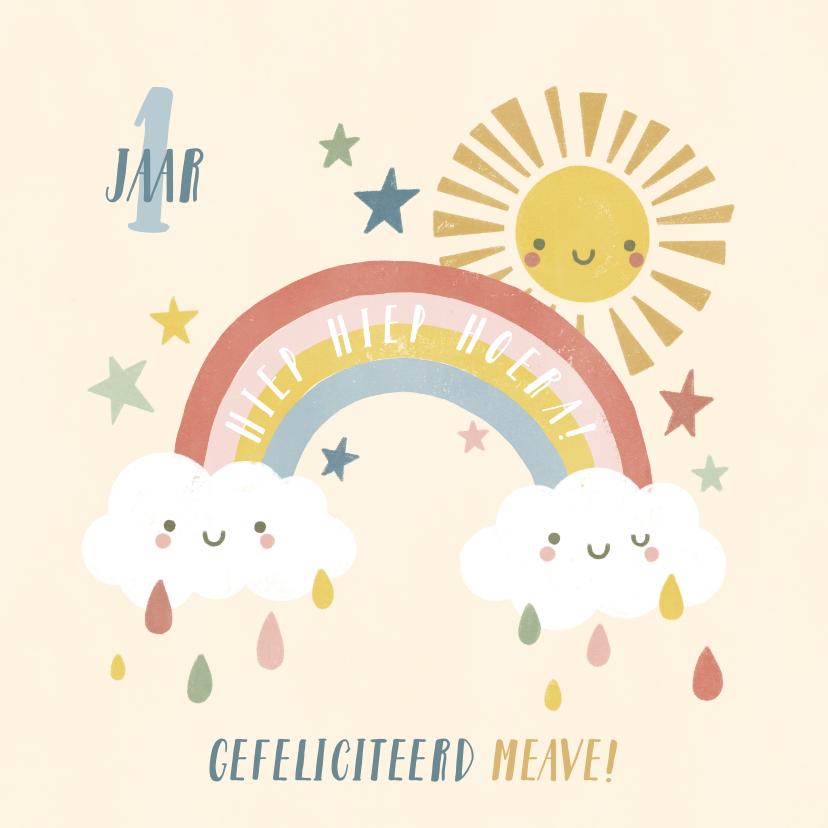 Verjaardagskaarten - Verjaardagskaart 1 jaar met regenboog, zonnetje en wolkjes