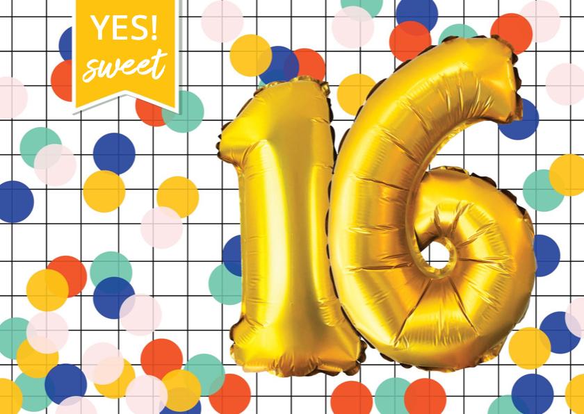 Verjaardagskaarten - Verjaardagskaart 16 jaar confetti ballonnen