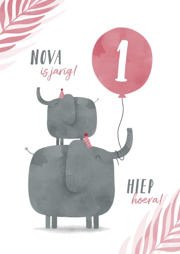 Verjaardagskaarten - Verjaardagskaart 2 olifantjes met ballon en leeftijd jungle