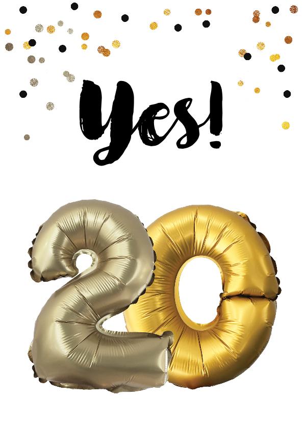 Verjaardagskaart 20 Jaar Ballonnen En Confetti Kaartje2go
