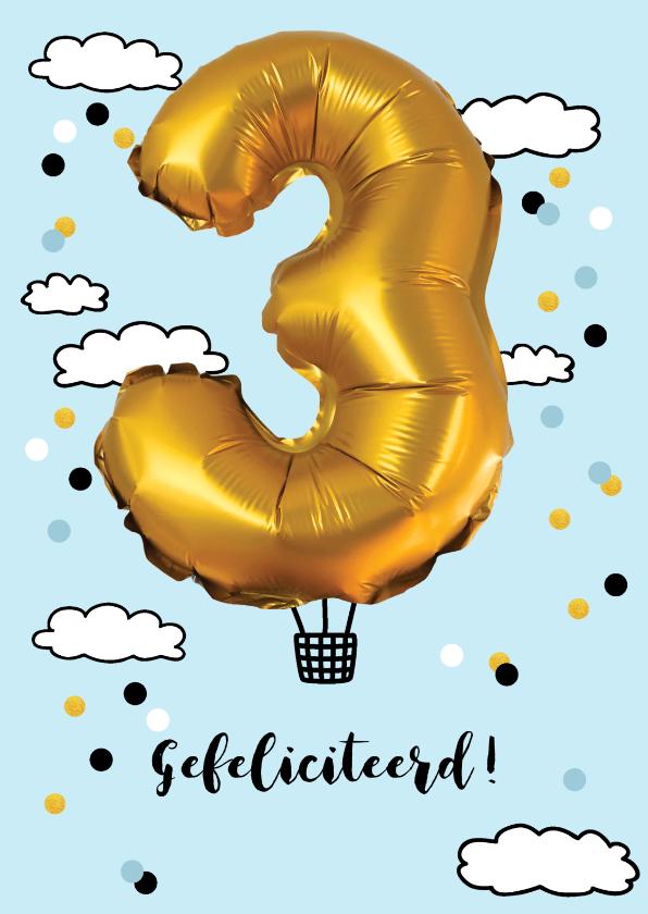 Verjaardagskaarten - Verjaardagskaart 3 jaar luchtballon goud kleurig