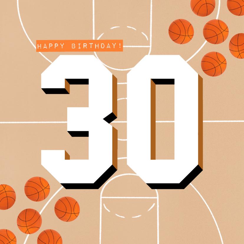 Verjaardagskaarten - Verjaardagskaart 30 jaar man oranje basketballen en veld
