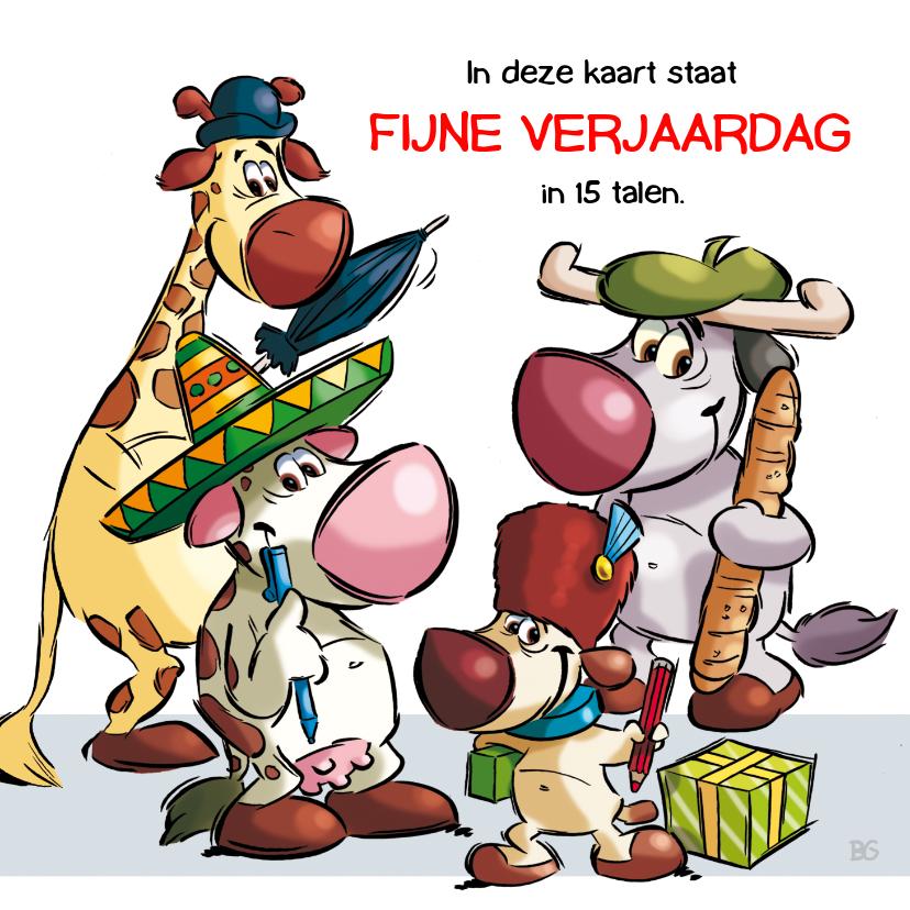 Verjaardagskaarten - Verjaardagskaart 4 getekende dieren uit veel landen