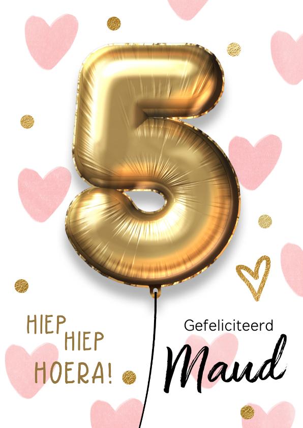 Verjaardagskaarten - Verjaardagskaart 5 jaar ballon roze hartjes meisje