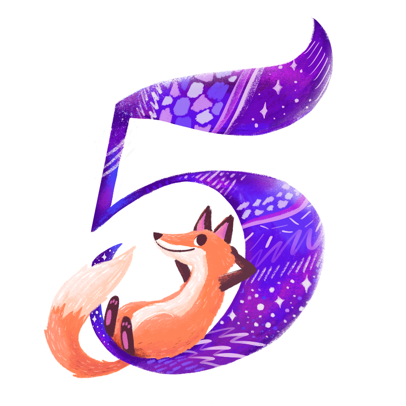 Verjaardagskaarten - Verjaardagskaart 5 jaar vos
