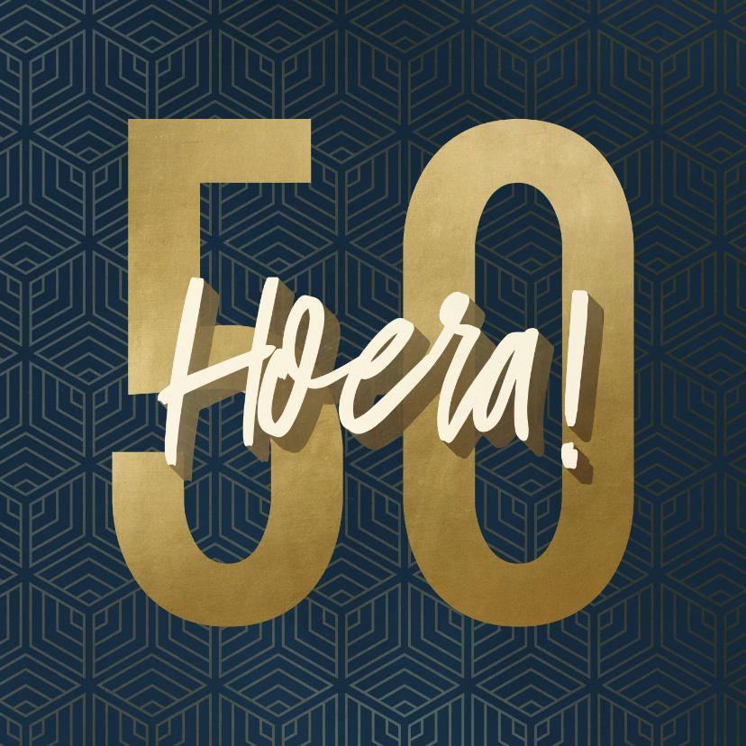 Verjaardagskaarten - Verjaardagskaart 50 geometrisch hoera