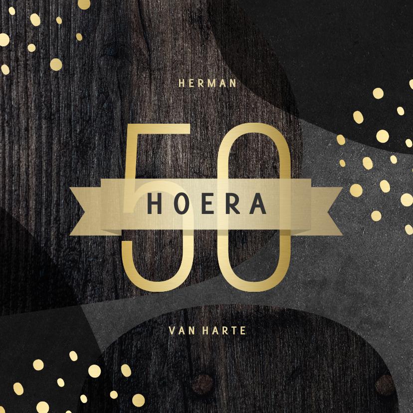 Verjaardagskaarten - Verjaardagskaart 50 jaar goud met krijtbord en hout abstract