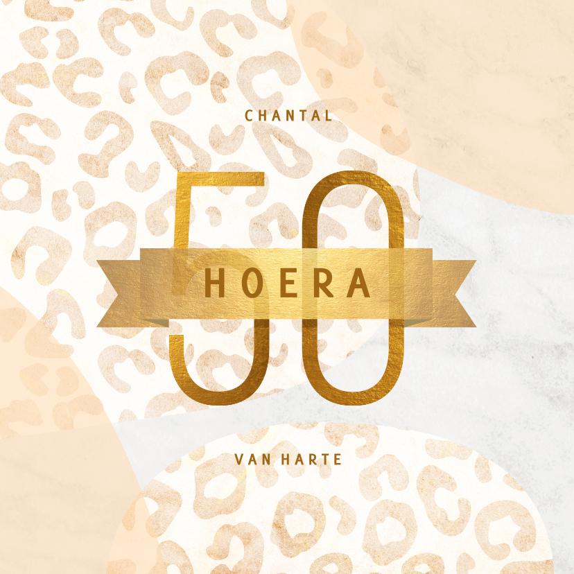 Verjaardagskaarten - Verjaardagskaart 50 jaar goud met marmer en panter abstract