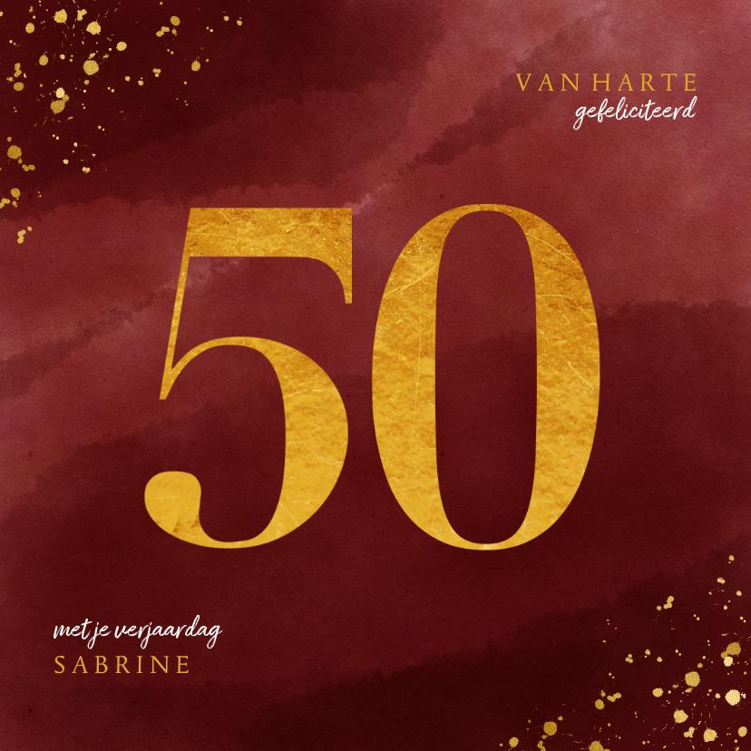 Verjaardagskaarten - Verjaardagskaart 50 jaar gouden spetters op waterverf