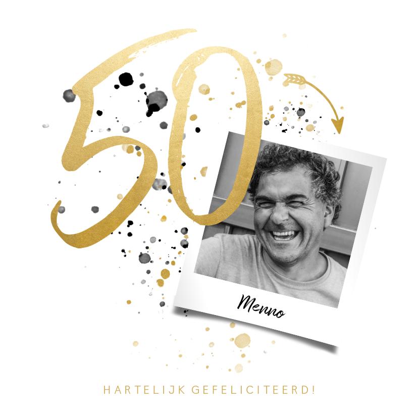 Verjaardagskaarten - Verjaardagskaart '50' met foto en spetters
