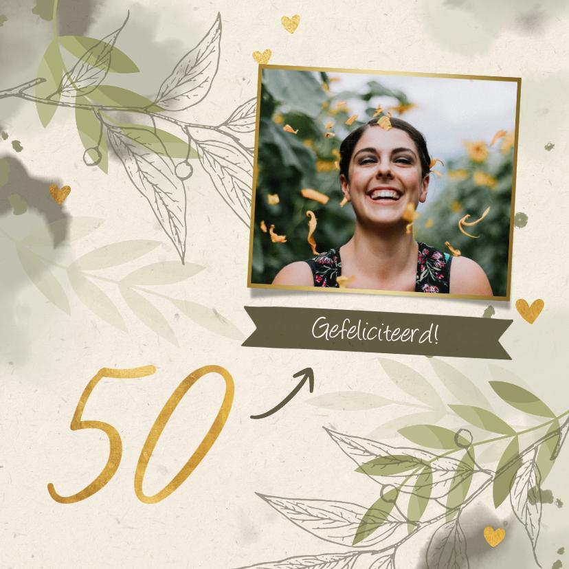 Verjaardagskaarten - Verjaardagskaart '50' met foto, takjes en hartjes