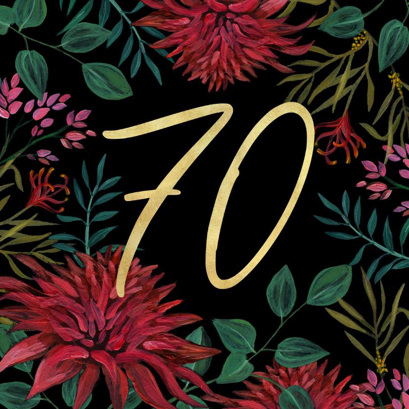 Verjaardagskaarten - Verjaardagskaart 70 bloemen goud klassiek stijlvol