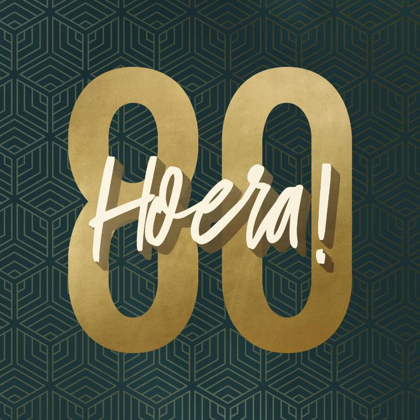 Verjaardagskaarten - Verjaardagskaart 80 geometrisch hoera