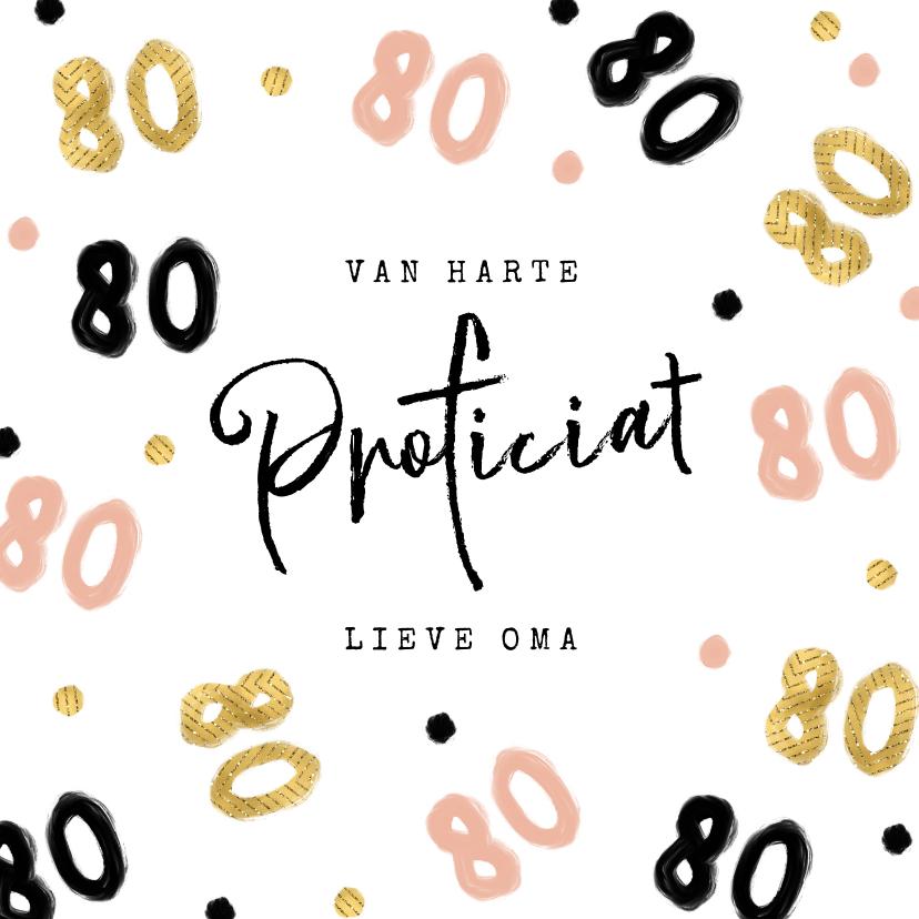 Verjaardagskaarten - Verjaardagskaart 80 jaar roze goud zwart vrouw oma