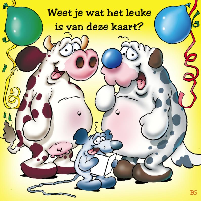 Verjaardagskaarten - Verjaardagskaart 9 koe hond muis met ballonnen