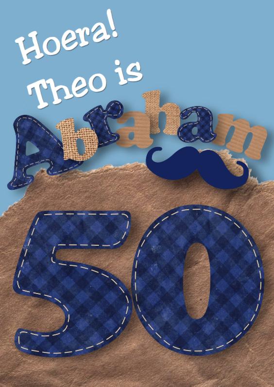 Verjaardagskaarten - Verjaardagskaart Abraham snor letters