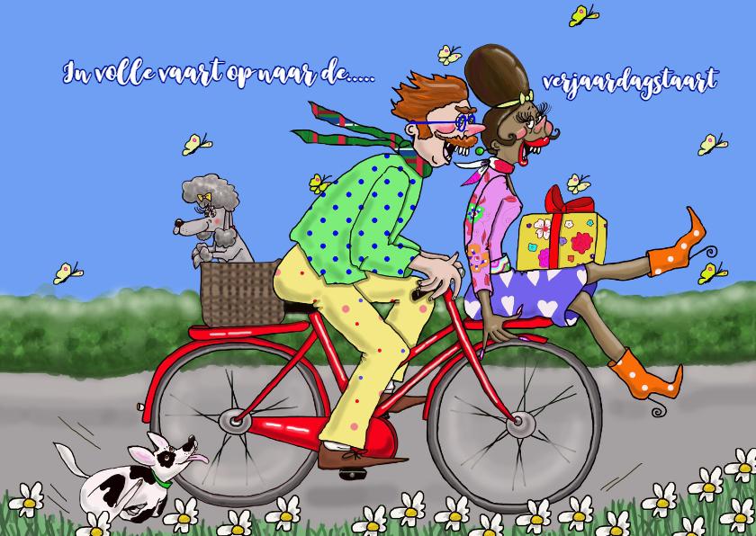 Verjaardagskaarten - Verjaardagskaart Al fietsend