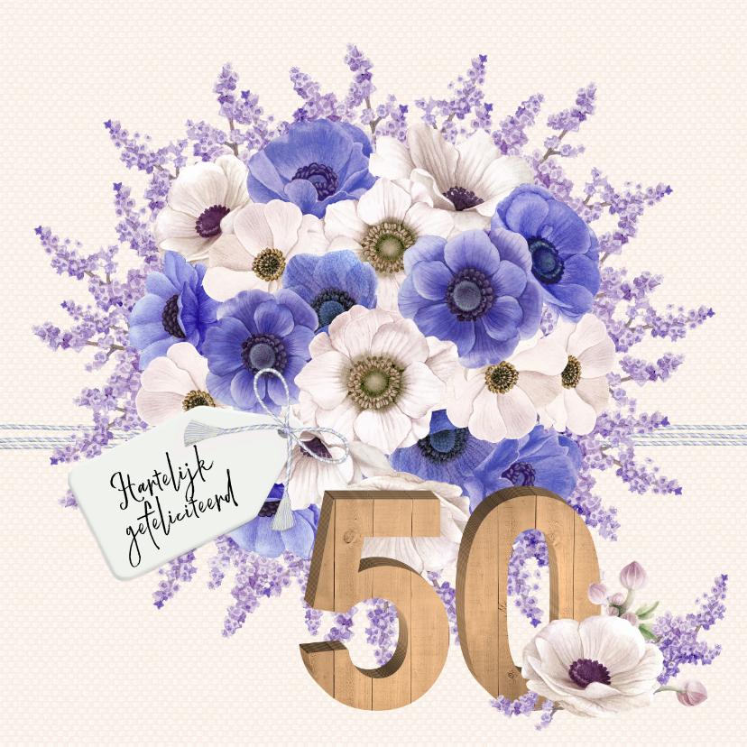 Verjaardagskaarten - Verjaardagskaart anemonen 50 jaar
