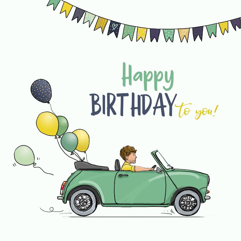 Verjaardagskaarten - Verjaardagskaart auto mini groen met ballonnen