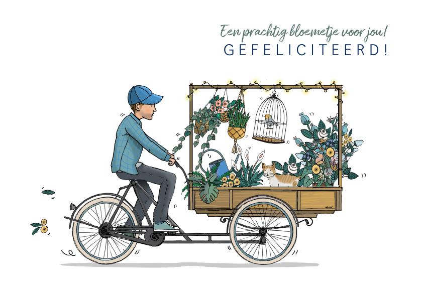 Verjaardagskaarten - Verjaardagskaart bakfiets met bloemen