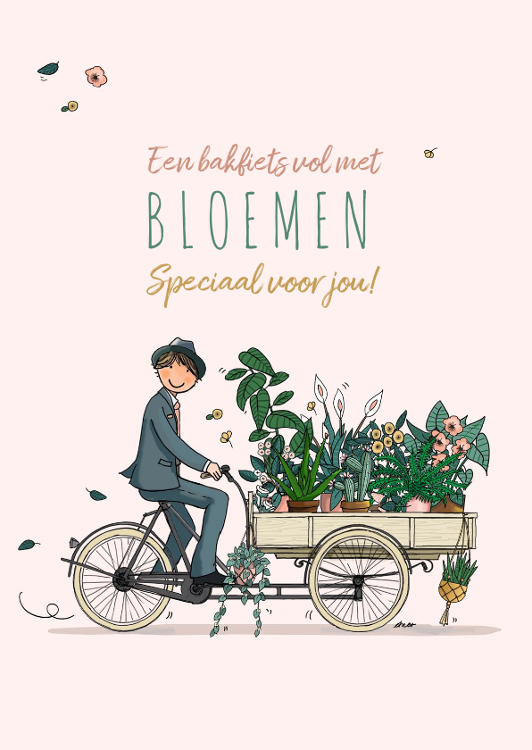 Verjaardagskaarten - Verjaardagskaart bakfiets planten