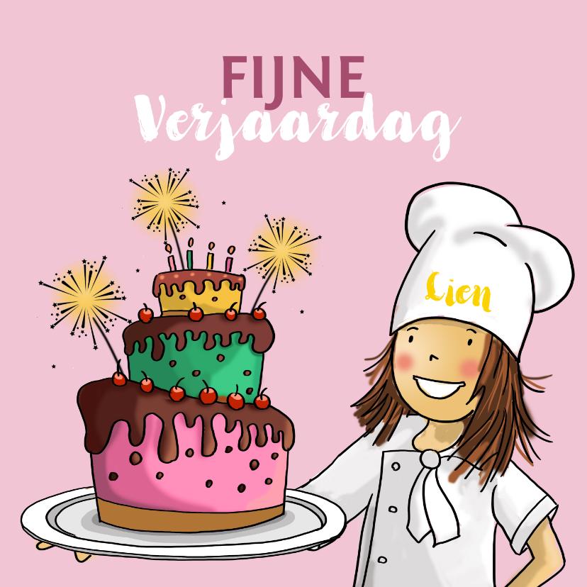 Verjaardagskaarten - Verjaardagskaart bakker met taart met sterretjes