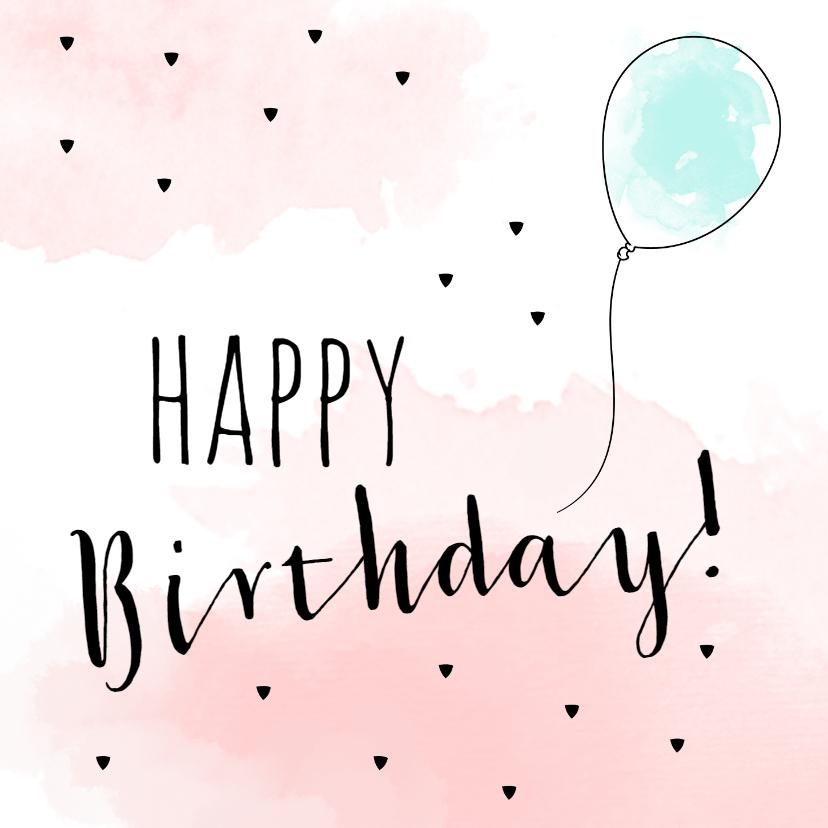 Verjaardagskaarten - Verjaardagskaart ballon met waterverf