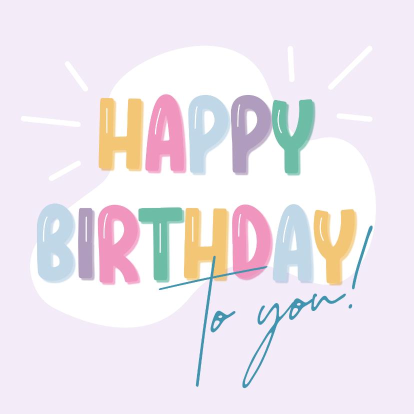 Verjaardagskaarten - Verjaardagskaart ballonletters happy birthday
