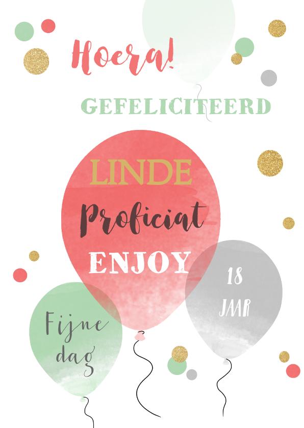 Verjaardagskaarten - Verjaardagskaart ballonnen confetti