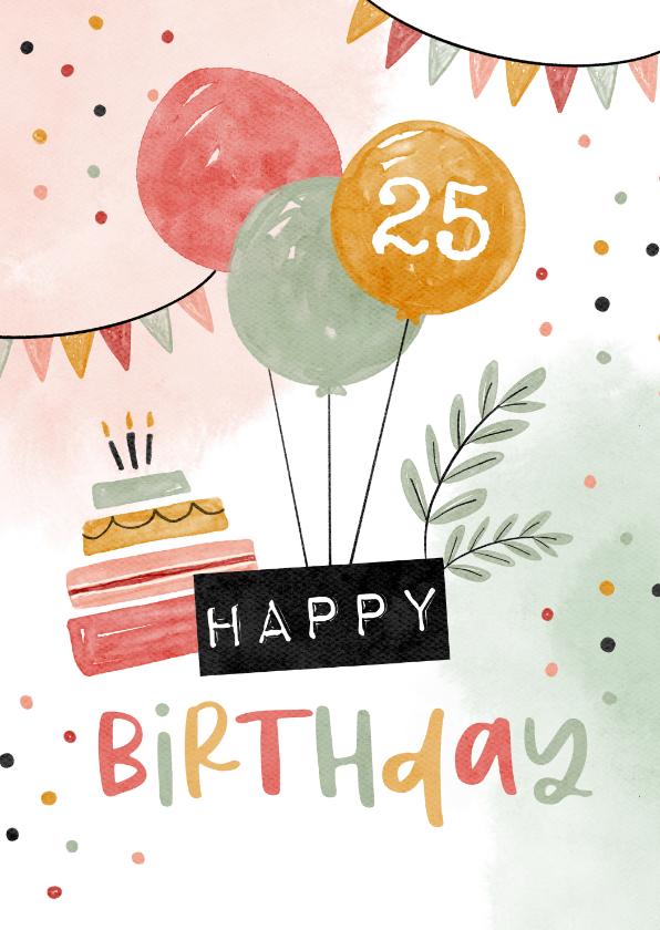 Verjaardagskaarten - Verjaardagskaart ballonnen happy birthday slingers confetti