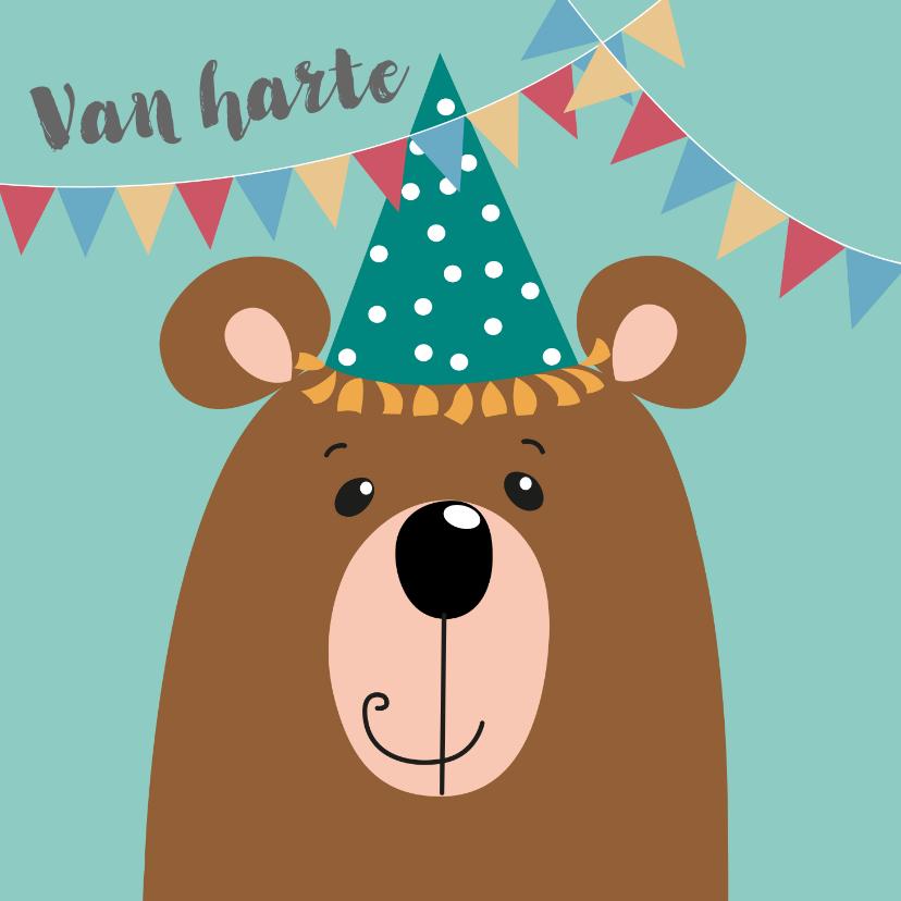 Verjaardagskaarten - Verjaardagskaart - beer met blauwe feestmuts