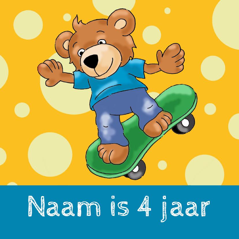 Verjaardagskaarten - Verjaardagskaart beer skateboard