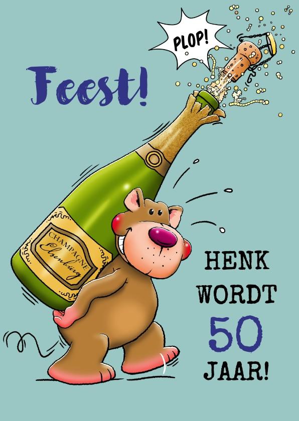 Verjaardagskaarten - Verjaardagskaart, beertje met champagne en glazen voor man