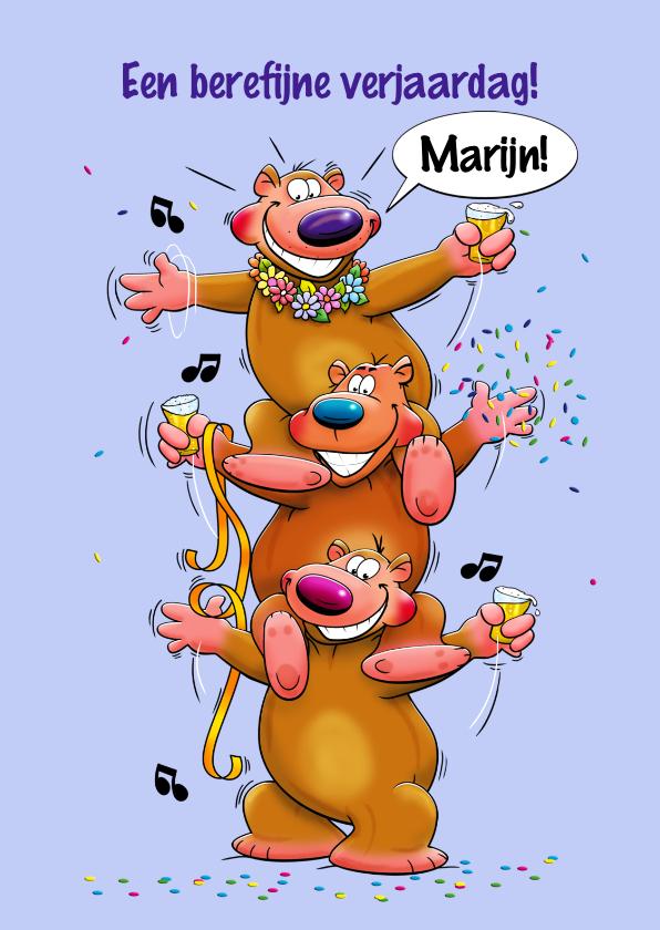 Verjaardagskaarten - Verjaardagskaart berefijne dag met 3 beren met glazen bier