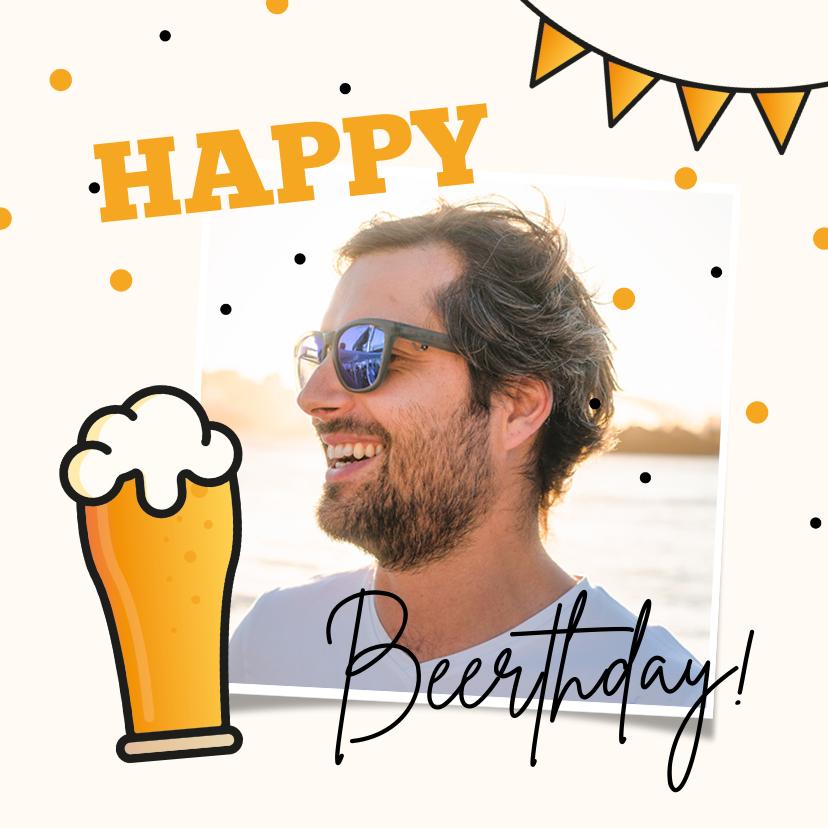 Verjaardagskaarten - Verjaardagskaart bier man happy beerthday confetti foto