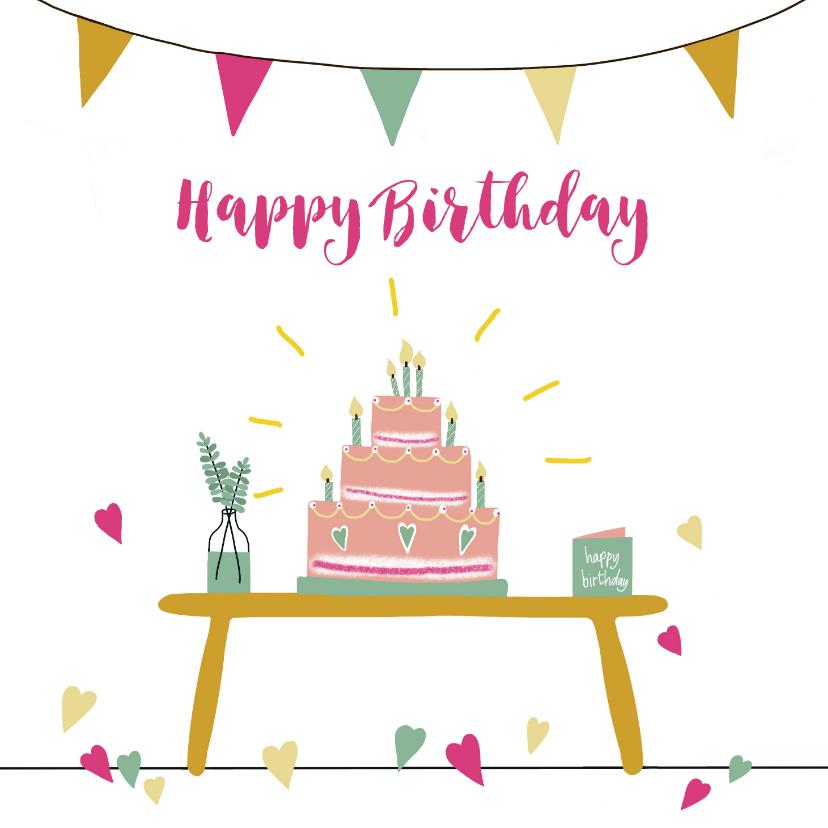 Verjaardagskaarten - Verjaardagskaart Birthday Cake with Candles