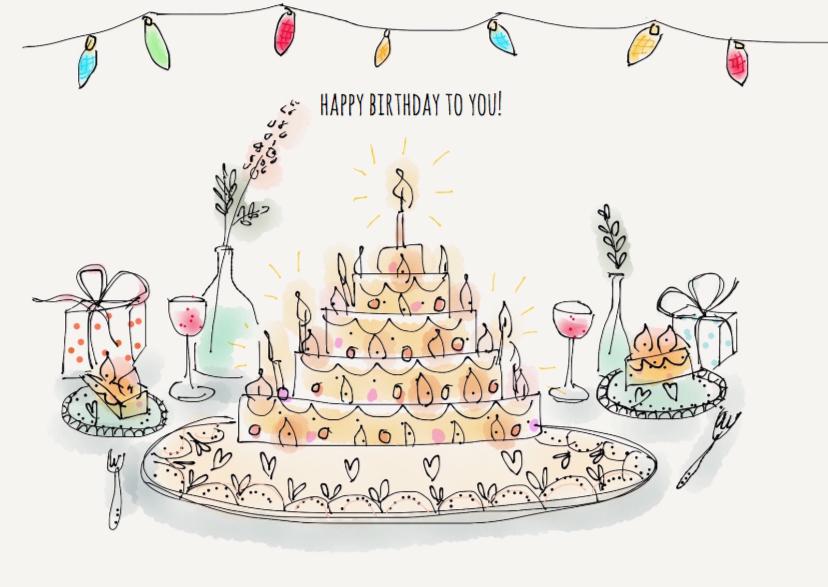 Verjaardagskaarten - Verjaardagskaart Birthday Cake