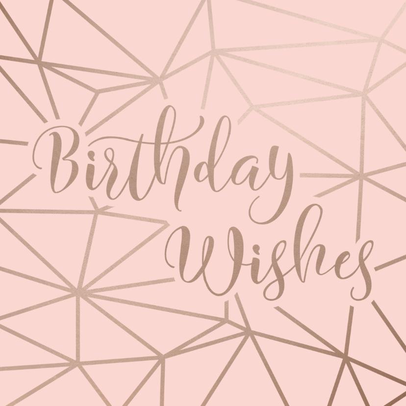 Verjaardagskaarten - Verjaardagskaart Birthday Wishes geometrisch patroon roze