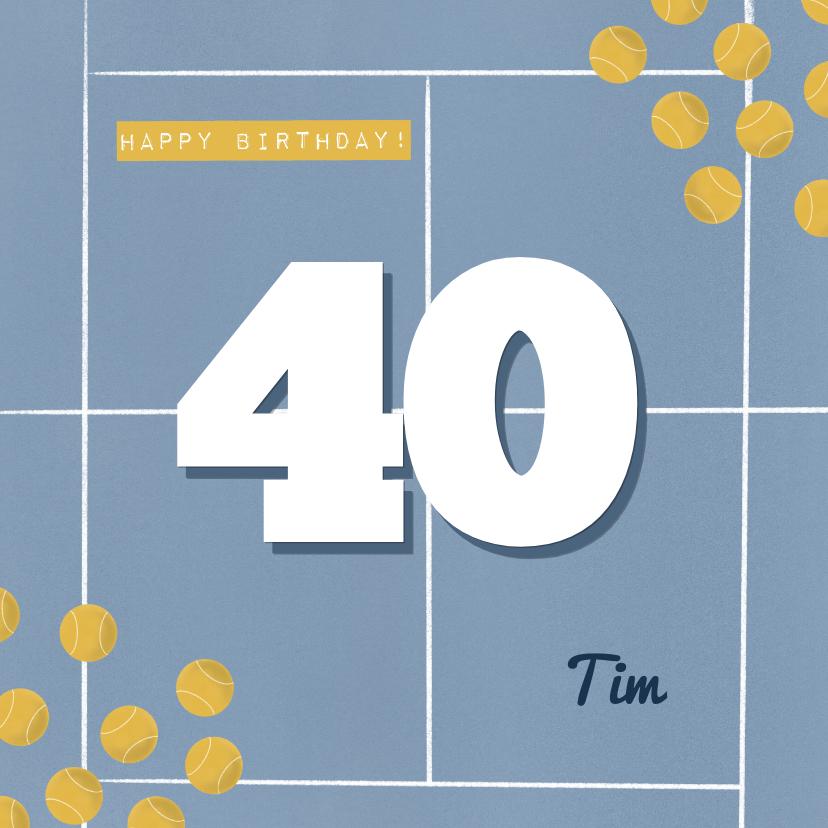 Verjaardagskaarten - Verjaardagskaart blauw tennisveld aanpasbare leeftijd