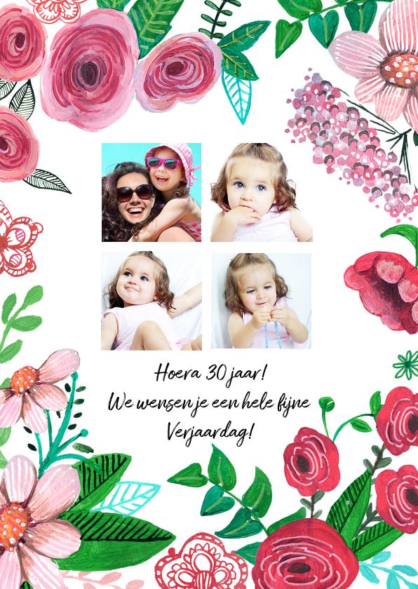 Verjaardagskaarten - Verjaardagskaart Bloemen en 4 foto's