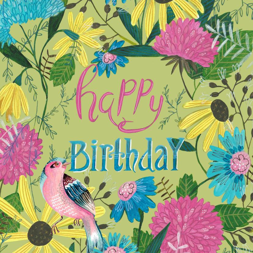 Verjaardagskaarten - Verjaardagskaart bloemen en prachtige vogel