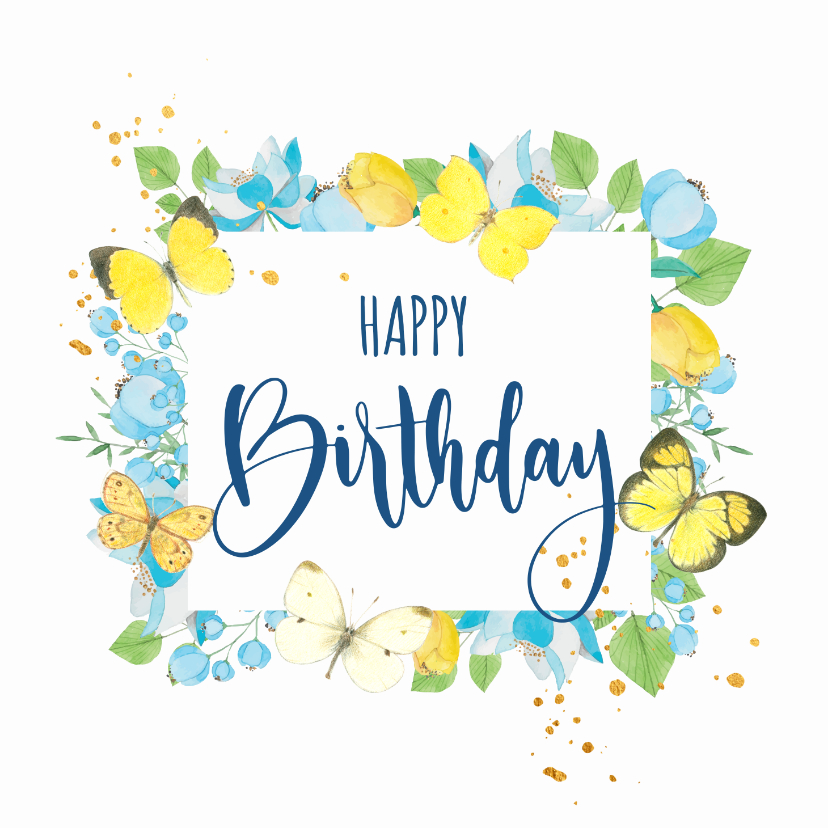 Verjaardagskaarten - Verjaardagskaart - Bloemen en vlinders in kader