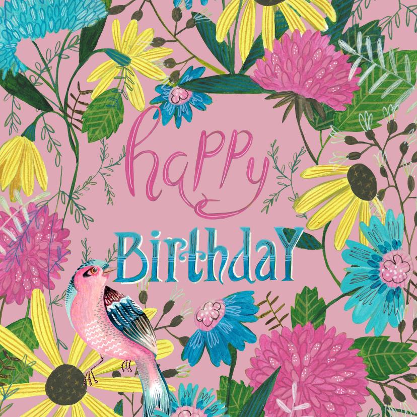 Verjaardagskaarten - Verjaardagskaart bloemen en vogel
